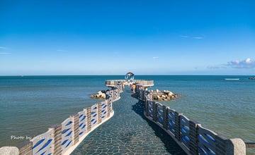 新北三芝|芝蘭公園海上觀景平台:漫步海中央,賞蔚藍遼闊海景,觀日出夕陽
